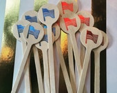 Party Wood Stir or Food Sticks - American Flag  Patriotic the Presidential Election Party USA Set of 10