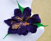 Felt flower, brooch, flower, purple, yellow, green  beads