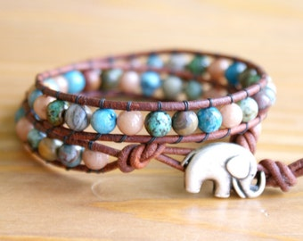 Bohemian beaded leather wrap bracelet, Mixed gemstones, Blue, Brown, Green, Good Luck charm, silver elephant, trendy boho chic, hipster
