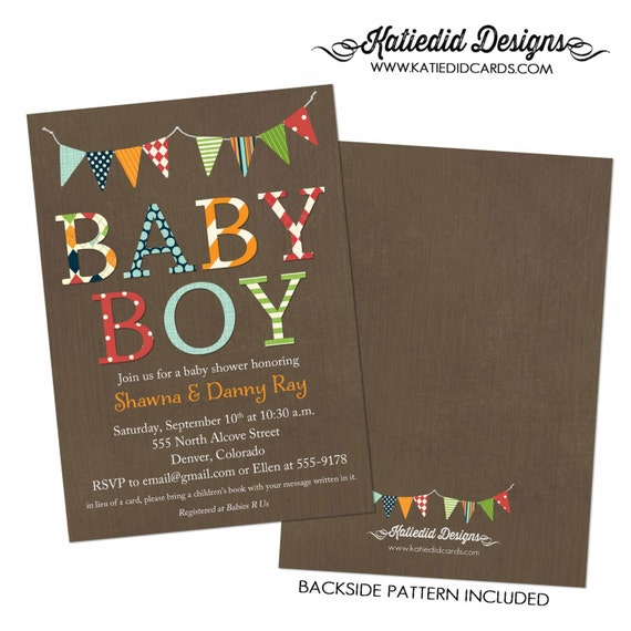 baby boy baby shower invitation B is for boy bunting banner baptism high tea shower baby sprinkle diaper (item 1280) shabby chic invitations