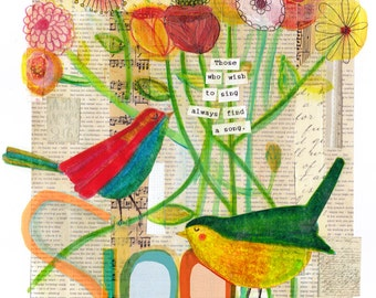 Song Birds - Mixed Media Collage - Wall Art Decor - Art Print