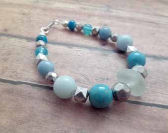 Scottish Jewelry Sea Glass Bracelet in White And Blue, Scotland Gift, Turquoise and Silver Beaded Bracelet, Summer Jewelry