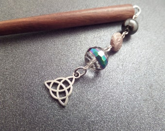 Wooden Hair Stick with Celtic Knot Charm and Glass Beads, Chop Stick Bun Accessory