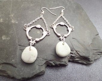 Scottish Iona Marble Earrings in White and Silver, Long Dangles with Chains