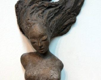 Figurative Ceramic - Dreams of Falling - Wall Sculpture - Beverly Morrison Sculptor