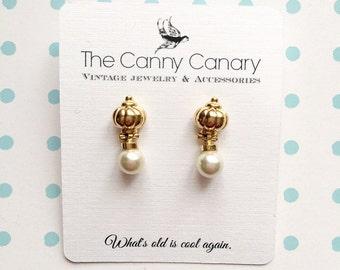 80's Vintage Gold and Pearl Door Knocker Earrings