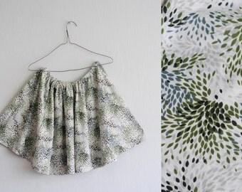 Brazilian skirt: 80's, jungle forest novelty print, abstract leaf, fireworks, moss olive green, white, handmade, M/L size, boho or beach