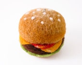 Needle Felted Ornament - Cheeseburger