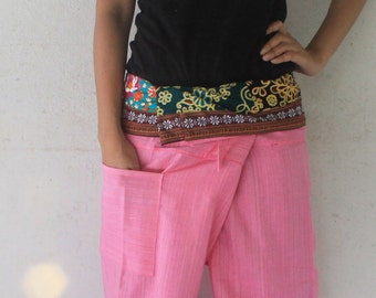 fabric  inside fold-over with pink full length  Thai fisherman pants hand weave cotton size S-XL,unisex pants,yoga,spa pants.
