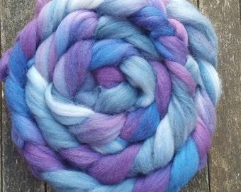 Hand Dyed Falkland Wool Tops, spinning, felting, fibre arts, purple, blue, green 145g