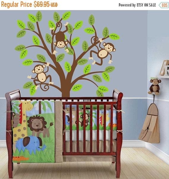 SALE Monkey Tree Decal Kids Nursery Decor Safari Jungle Wall Decal