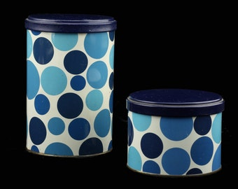 Vintage Kitchenware Tomado Metal Container / Box / Floral Canister / Storage Container.. Blue Dots Sixties-Seventies made in Holland..