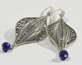Sapphire Earrings Filigree Handmade Earrings Sterling Silver Jewelry Gemstone Earrings
