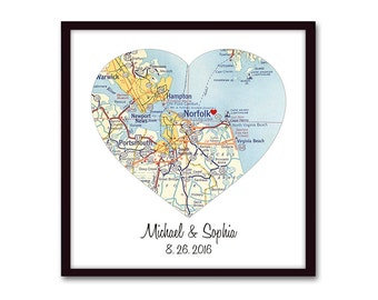 Personalized Map Print, Custom Wedding Gift, Map Gift, Heart Map Art, Anniversary Gift, Engagements, Personalized Gift for Couples