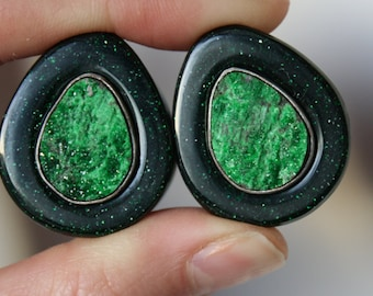 "1"" Green Goldstone and Uvarovite Inlay Plugs"