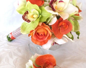 Tropical wedding flowers Green creme and orange Orchid Bridal Bouquet boutonniere set