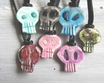 Gemstone skull necklace - choose one - witchcraft amulet pastel goth witchy crystal pastel grunge skull wiccan jewelry occult wicca gothic