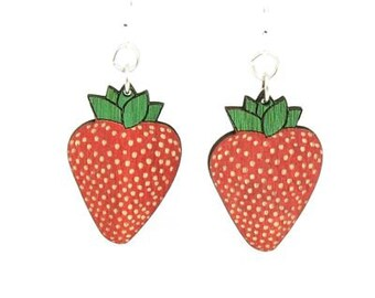 Strawberry Earrings - Laser Cut from Reforested Trees