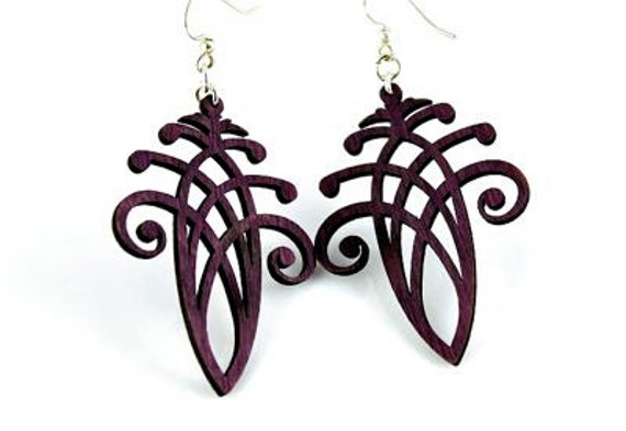 Acorn Style Dangle - Laser Cut Earrings from Reforested Wood