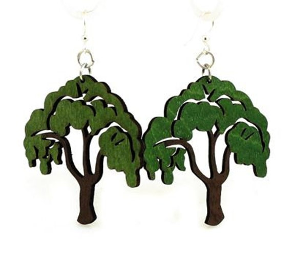 Tree of Life Earrings - Laser Cut Wood Earrings from Reforested Trees