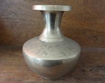 Vintage Indian brass metal vase decorative flower stem circa 1950-60's / English Shop