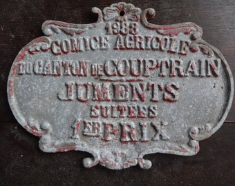 Vintage French agricultural farming beef cattle cow livestock winner red metal prize trophy plaque agriculture farm 1988 / English Shop