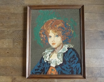 Vintage French Tapestry Cross Stitch Girl Lady Reproduction Portrait Wall Hanging circa 1950-60's / English Shop