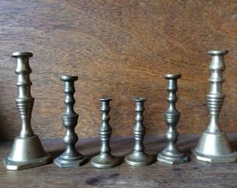 Vintage English six small brass candlesticks candle holders circa 1920-40's / English Shop