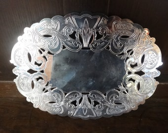 Vintage English Silver Plate Metal Ornate Stand Trivet Handled circa 1970-80's / English Shop