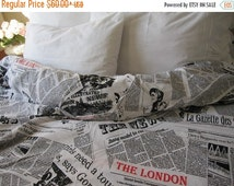 sale Writing Newspaper print duvet cover - Book bedding - Black white cotton quilt doona cover Twin XL FULL Queen King size bedding - Nurdan