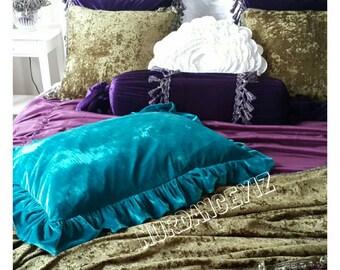 Peacock teal blue Velvet ruffled pillow, euro sham pillow - sofa couch pillow cover - decorative pillow luxury bed bedding decor Nurdanceyiz