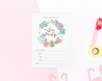 Personalisable Tea Party Invitations with Printable File Options: Wonderland - Tea Party Invites - Alice in Wonderland Invitations