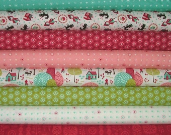 Lil' Red Fat Quarter Bundle of 8 by Stacy Iset Hsu for Moda