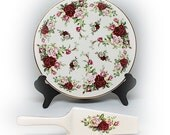 Floral Cake Plate and Server Victora by Andrea Sadek