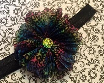 Rainbow Cheetah Flower - Hair Clip or Headband, Cheetah Print Bow, Cheetah  Print Headband, Rainbow Bow, Rainbow Headband, Edens Bowtique