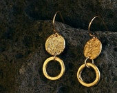 Valentine Sale Gold Circle Dangle Earrings, 18k plated, unique earrings, handmade, textured look, arty design, different, Thanksgiving gift