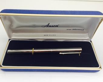 """Vintage ANSON """"The Diamond"""" Pen, mint condition, Original Box, Father's Day Sale, item no M006"""