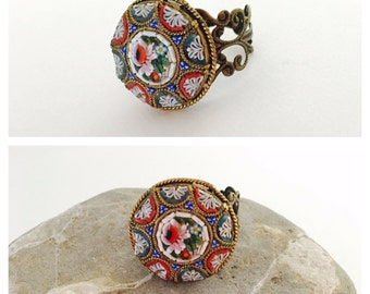 Italian Mosaic Ring, Vintage Adjustable Filigree Copper/Brass Ring, Item No. De044