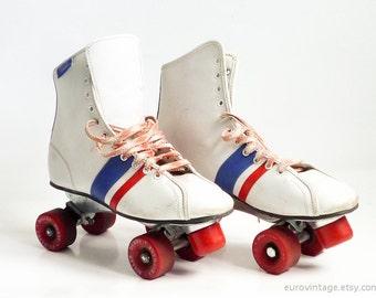 Vintage Roller Skates Roller Derby Size 8 White Red Blue 60s 70s