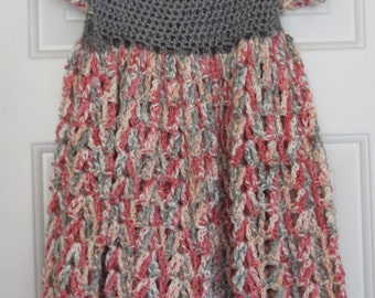 Pink and Gray Crochet Dress-Size 4