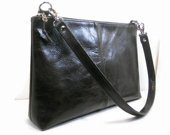 Black Leather Shoulder Bag, Leather Crossbody Bag, Handmade Leather Handbags, Leather Satchel Purse, Minimalist Bag, Kamryn Bag, Made in USA