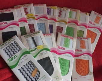 14 Assorted Unopened Vintage Talon Fancy Tape, Seam Tape, Bias Tape, and or Rick Rack - Various Colors, circa 1970's