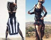Steampunk Skirt - Striped Skirt - Beetlejuice Skirt - Gothic Long Skirt  - Made to Order