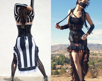 Steampunk Skirt - Striped Skirt - Beetlejuice Skirt - Gothic Long Skirt  - Made to Order
