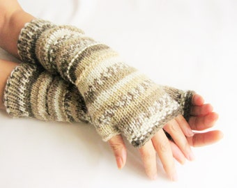 Hand Knit LONG Fingerless Wool Multicolored Gloves