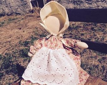 Primitive, Prairie Doll,Faceless Doll, Vintage Apron Fabric, Faceless figure, Wall Hanger, Shelf Sitter, OFG TEAM, One of a Kind Original