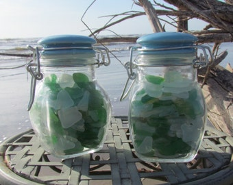 Genuine Sea Glass in a Bottle/Set of Two