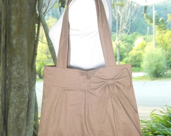 Summer Sale 10% off pale brown cotton fabric purse with bow / canvas tote bag / shoulder bag / hand bag / diaper bag - zipper closure