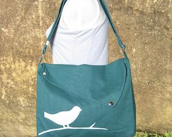 Teal green cotton canvas messenger bag / shoulder bag / bird messenger /diaper bag / cross body bag