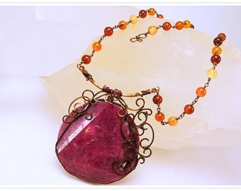 The Rubeus Medallion   Natural Ruby and Agate Necklace